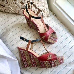 NEVER WORN Leather Wedges Sizes 9